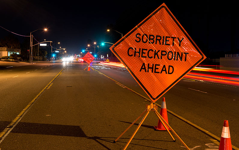 A DUI check point in Anaheim, CA.